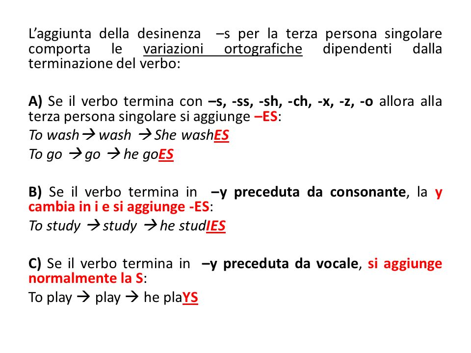 L'aggiunta della desinenza –s per la terza persona singolare comporta le variazioni ortografiche dipendenti dalla terminazione del verbo: