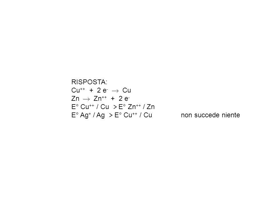 RISPOSTA: Cu++ + 2 e-  Cu. Zn  Zn++ + 2 e- E° Cu++ / Cu  E° Zn++ / Zn.