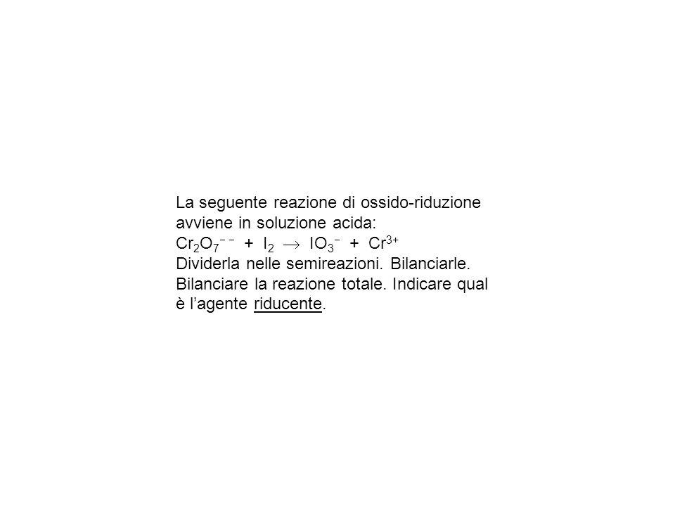 La seguente reazione di ossido-riduzione avviene in soluzione acida: