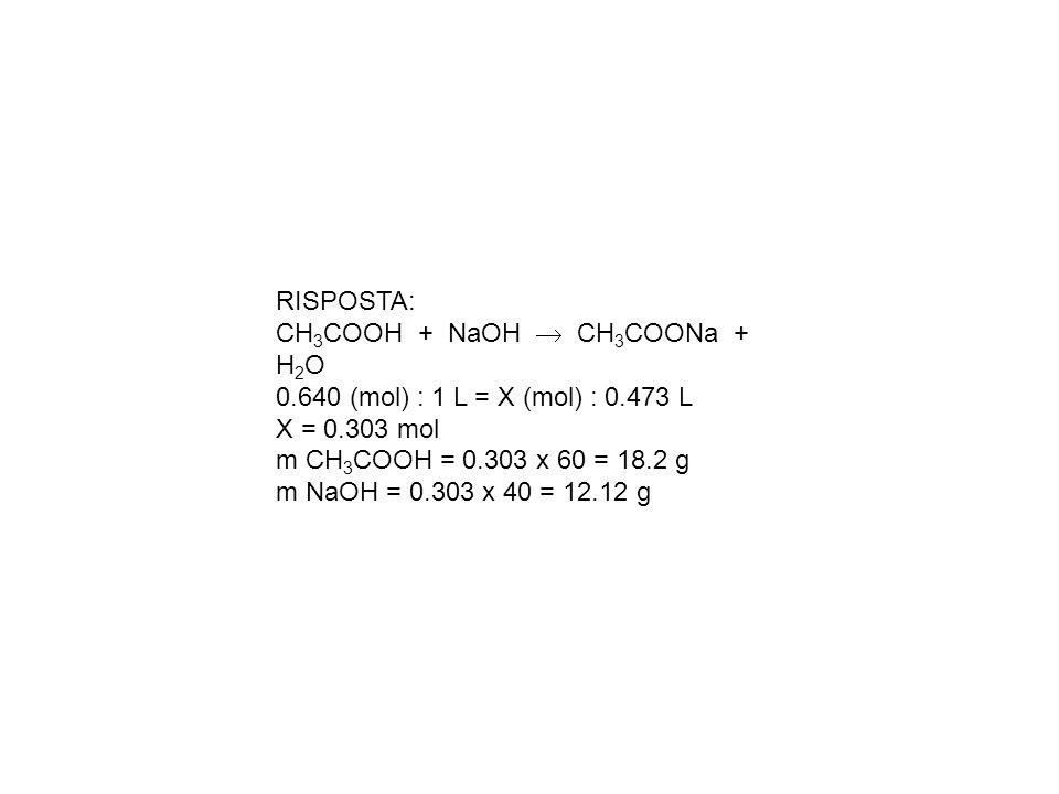 RISPOSTA: CH3COOH + NaOH  CH3COONa + H2O. 0.640 (mol) : 1 L = X (mol) : 0.473 L. X = 0.303 mol.