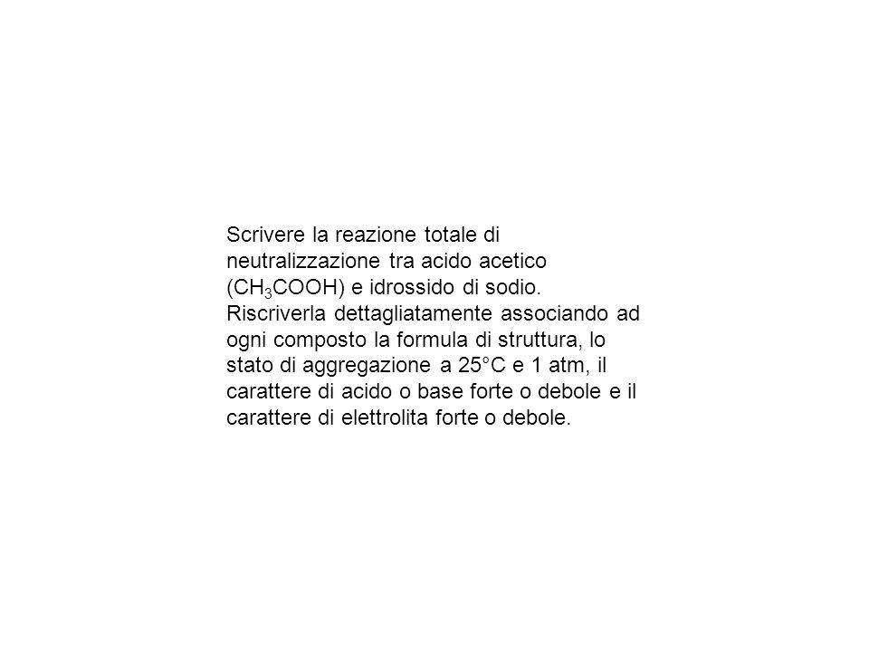 Scrivere la reazione totale di neutralizzazione tra acido acetico (CH3COOH) e idrossido di sodio.