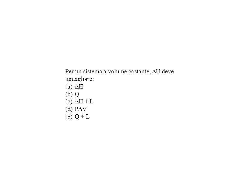 Per un sistema a volume costante, U deve uguagliare: