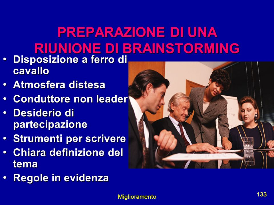 PREPARAZIONE DI UNA RIUNIONE DI BRAINSTORMING