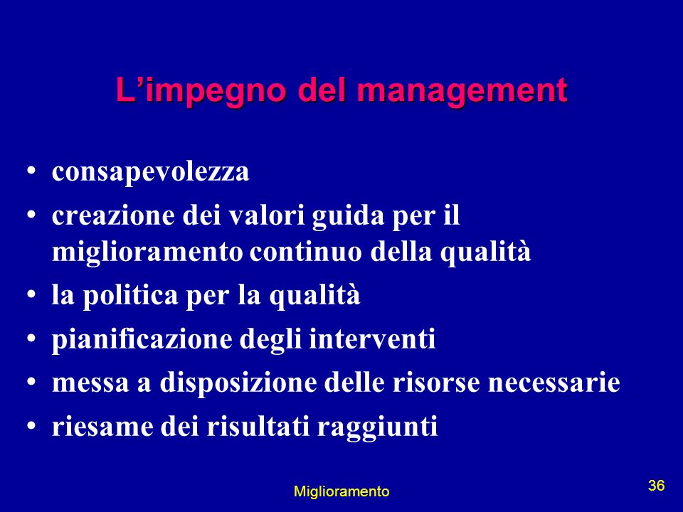 L'impegno del management