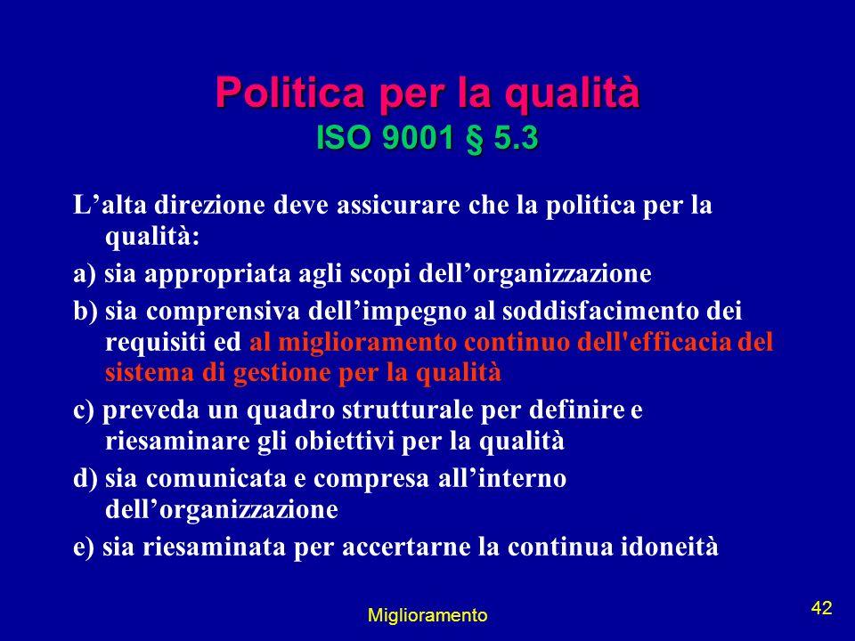 Politica per la qualità ISO 9001 § 5.3