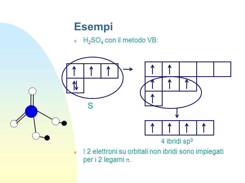 Esempi S 4 ibridi sp3 H2SO4 con il metodo VB: