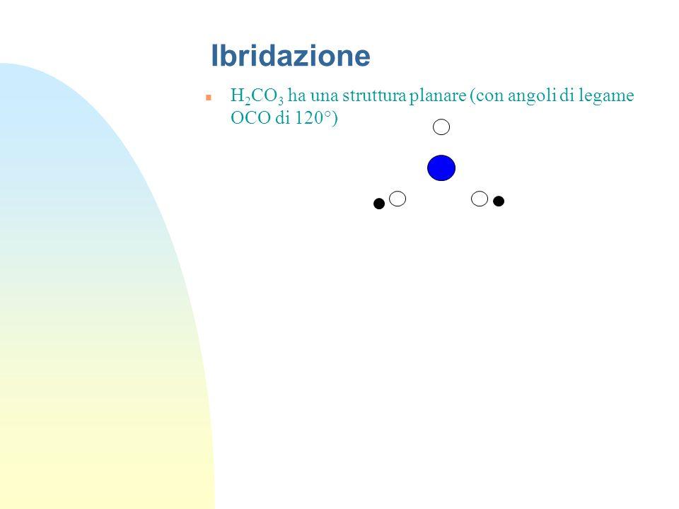 Ibridazione H2CO3 ha una struttura planare (con angoli di legame OCO di 120°)
