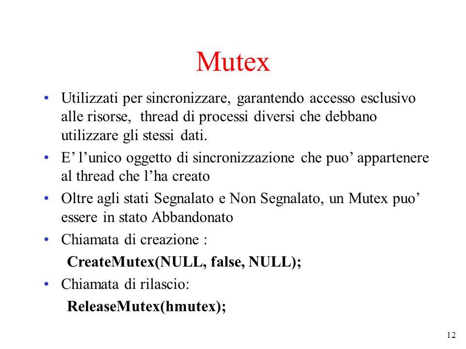 Mutex Utilizzati per sincronizzare, garantendo accesso esclusivo alle risorse, thread di processi diversi che debbano utilizzare gli stessi dati.