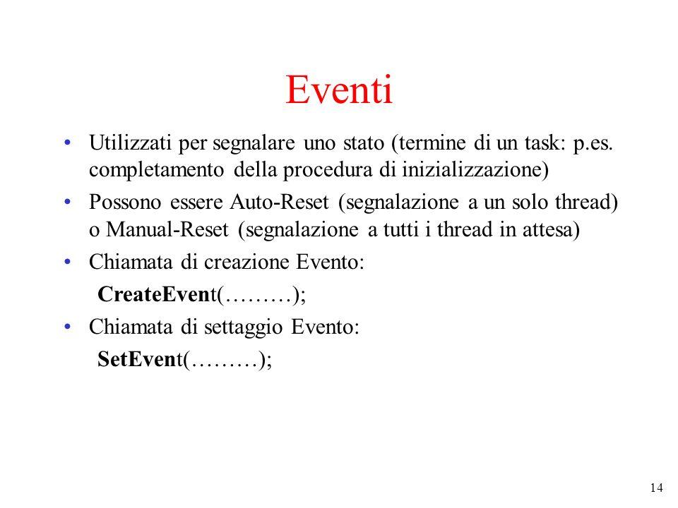 Eventi Utilizzati per segnalare uno stato (termine di un task: p.es. completamento della procedura di inizializzazione)