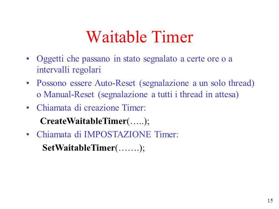 Waitable TimerOggetti che passano in stato segnalato a certe ore o a intervalli regolari.