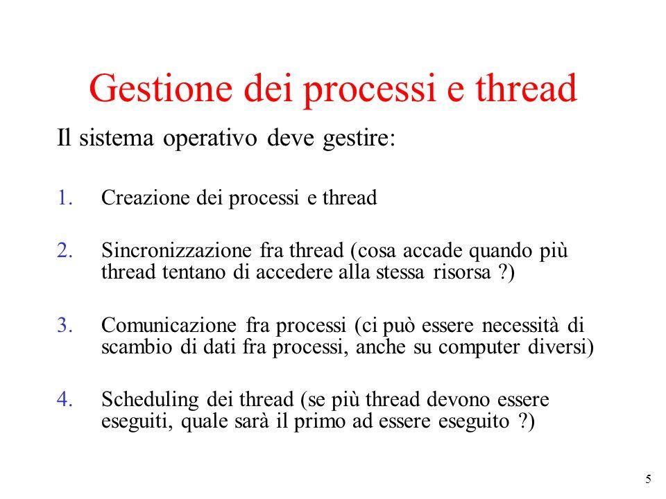 Gestione dei processi e thread