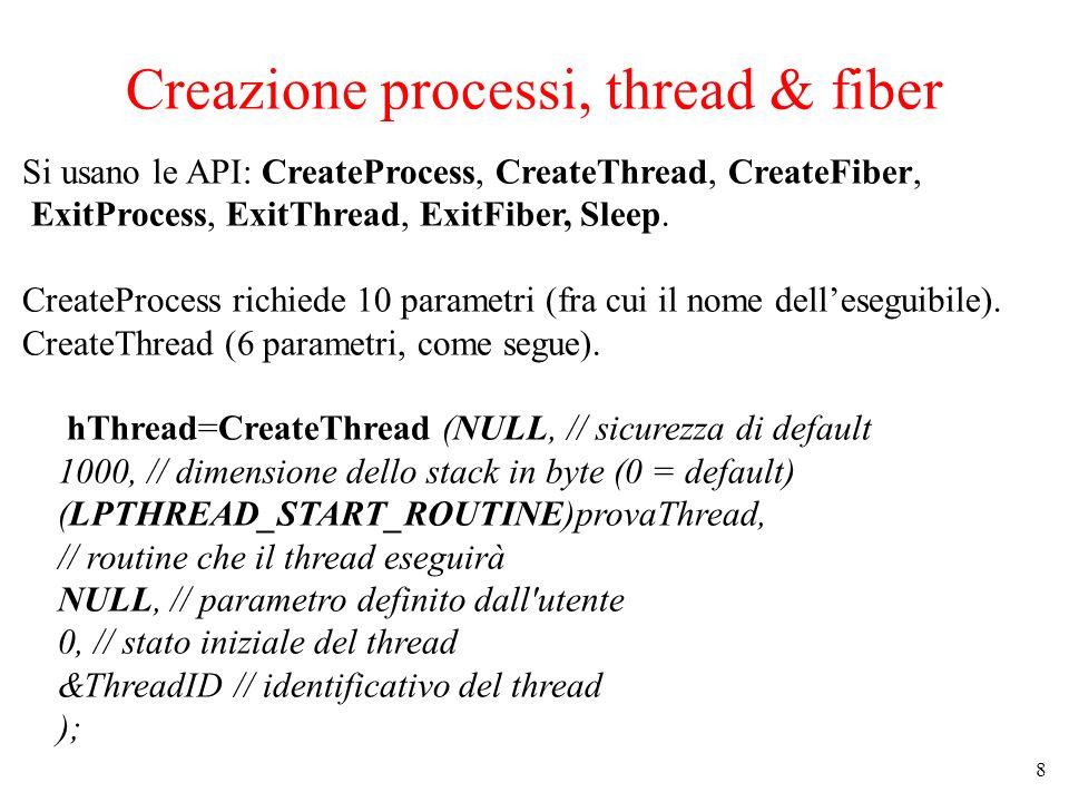 Creazione processi, thread & fiber
