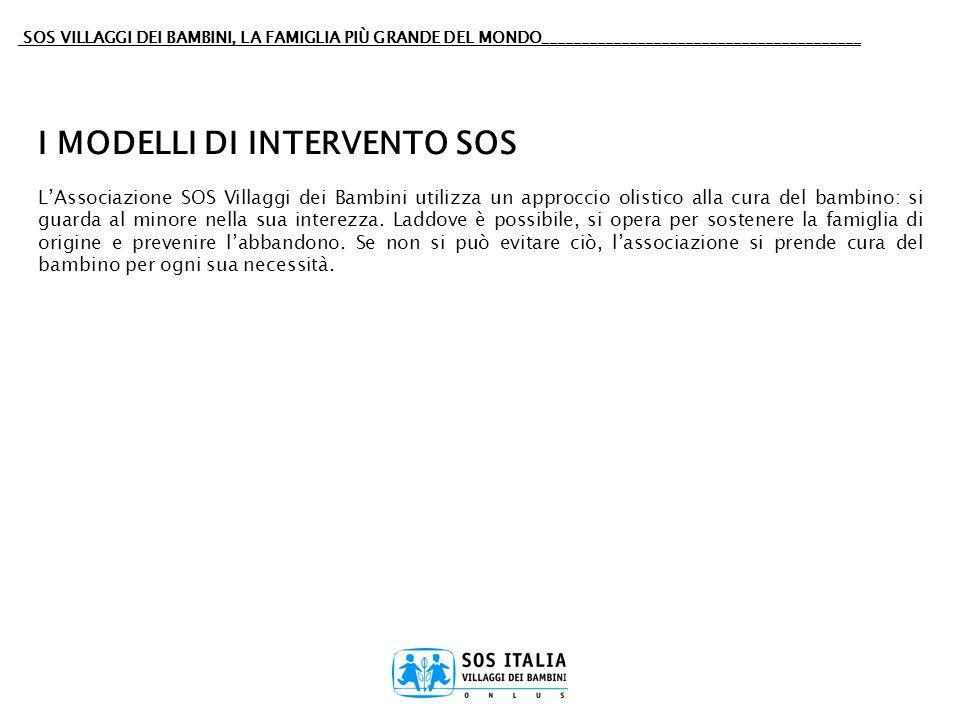 I MODELLI DI INTERVENTO SOS