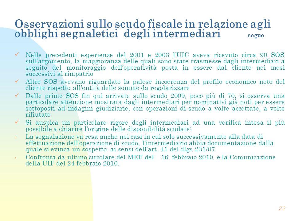 Osservazioni sullo scudo fiscale in relazione agli obblighi segnaletici degli intermediari segue