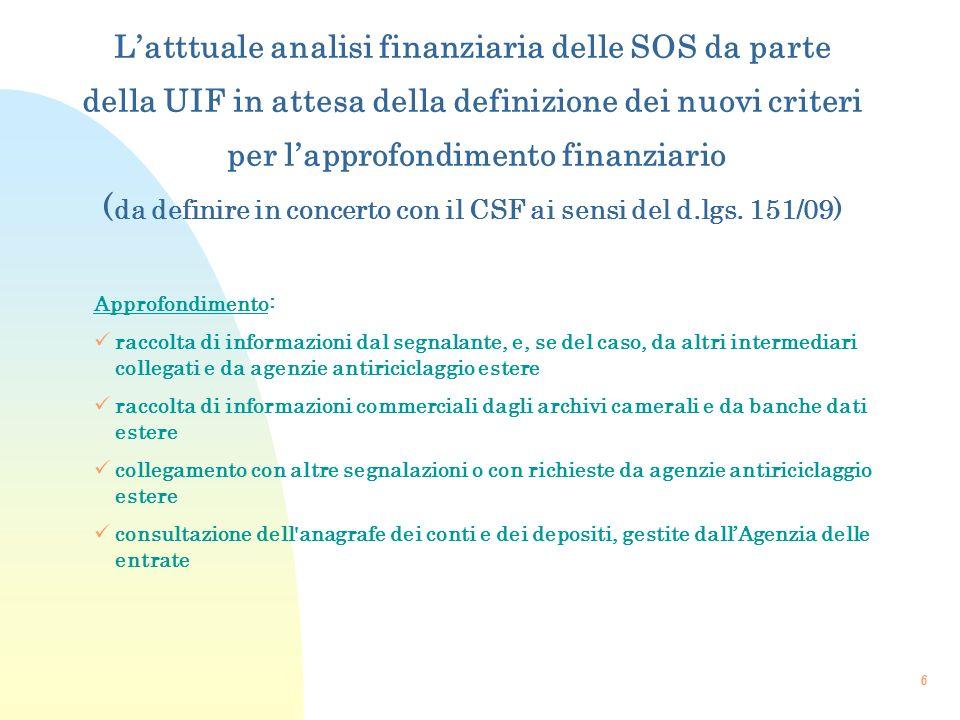 L'atttuale analisi finanziaria delle SOS da parte della UIF in attesa della definizione dei nuovi criteri per l'approfondimento finanziario (da definire in concerto con il CSF ai sensi del d.lgs. 151/09)
