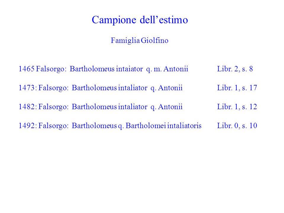 Campione dell'estimo Famiglia Giolfino