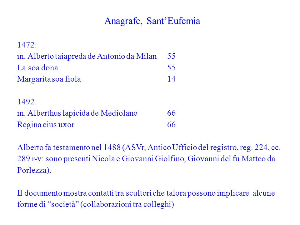 Anagrafe, Sant'Eufemia