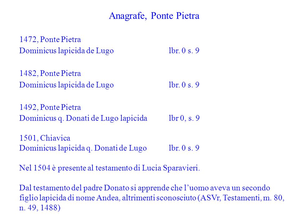 Anagrafe, Ponte Pietra 1472, Ponte Pietra