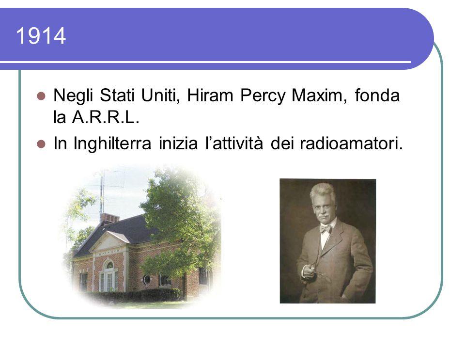 1914 Negli Stati Uniti, Hiram Percy Maxim, fonda la A.R.R.L.