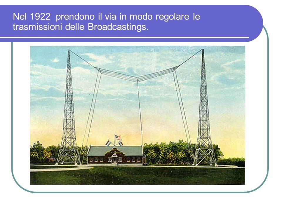 Nel 1922 prendono il via in modo regolare le trasmissioni delle Broadcastings.