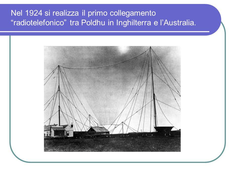 Nel 1924 si realizza il primo collegamento radiotelefonico tra Poldhu in Inghilterra e l'Australia.