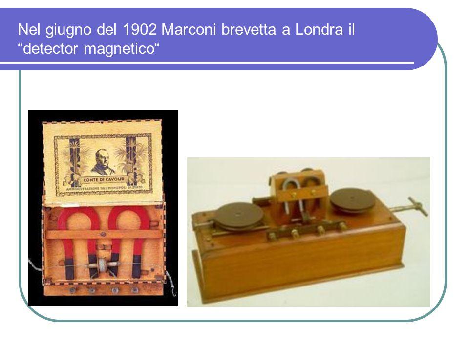 Nel giugno del 1902 Marconi brevetta a Londra il detector magnetico
