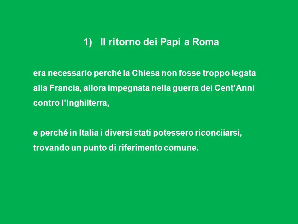 1) Il ritorno dei Papi a Roma