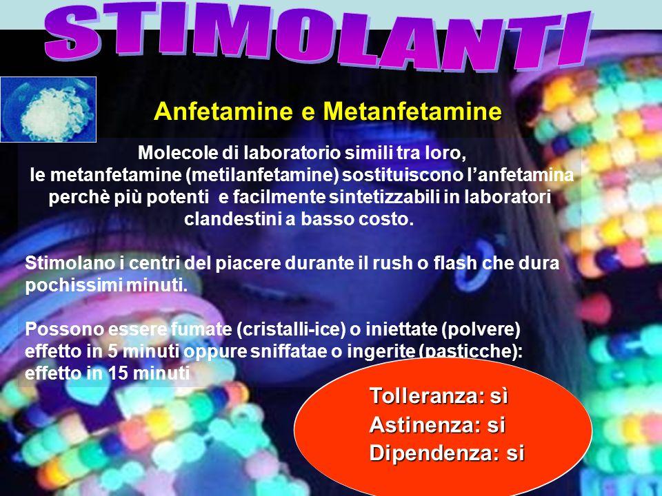 Anfetamine e Metanfetamine Molecole di laboratorio simili tra loro,