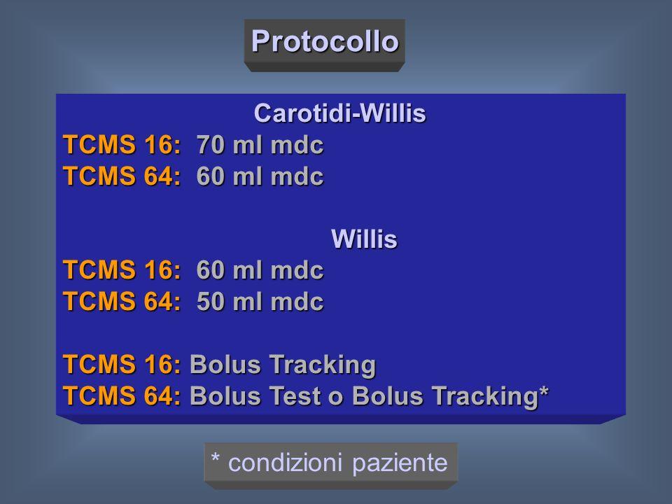 Protocollo Carotidi-Willis TCMS 16: 70 ml mdc TCMS 64: 60 ml mdc