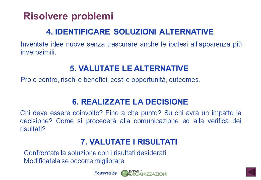 Risolvere problemi 4. IDENTIFICARE SOLUZIONI ALTERNATIVE
