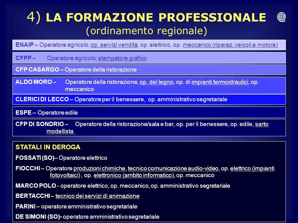 4) LA FORMAZIONE PROFESSIONALE (ordinamento regionale)