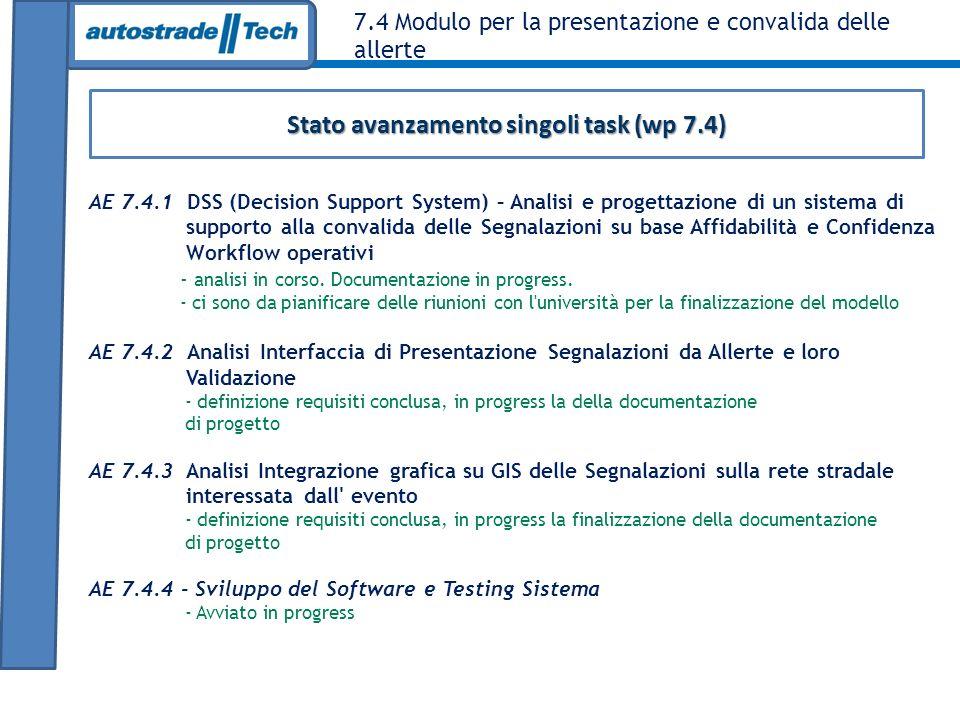 Stato avanzamento singoli task (wp 7.4)