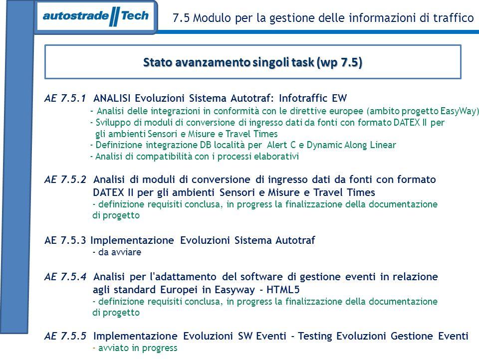 Stato avanzamento singoli task (wp 7.5)