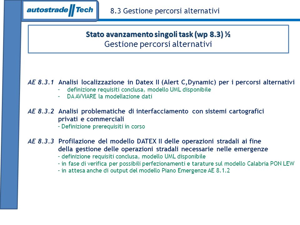 Stato avanzamento singoli task (wp 8.3) ½