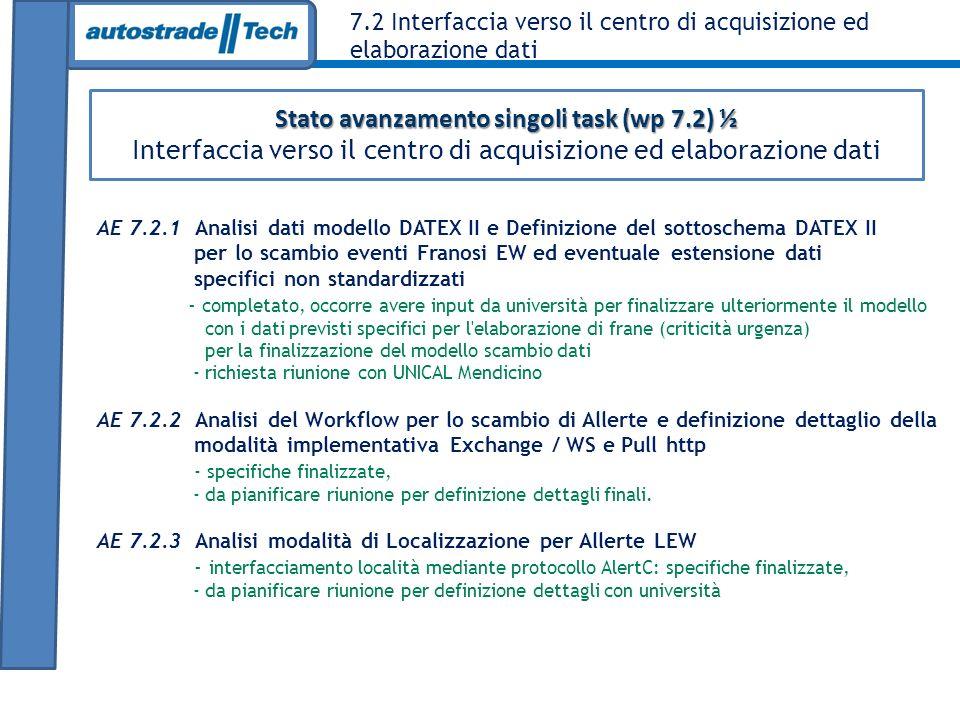 Stato avanzamento singoli task (wp 7.2) ½