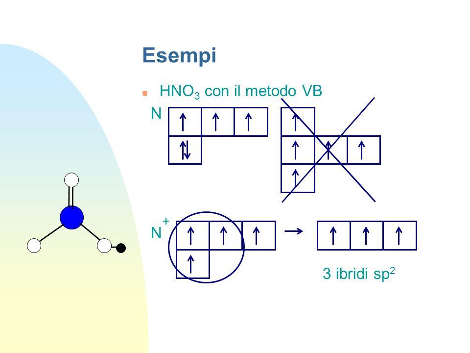 Esempi HNO3 con il metodo VB N N+ 3 ibridi sp2