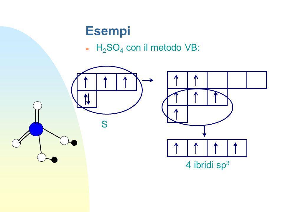 Esempi H2SO4 con il metodo VB: S 4 ibridi sp3