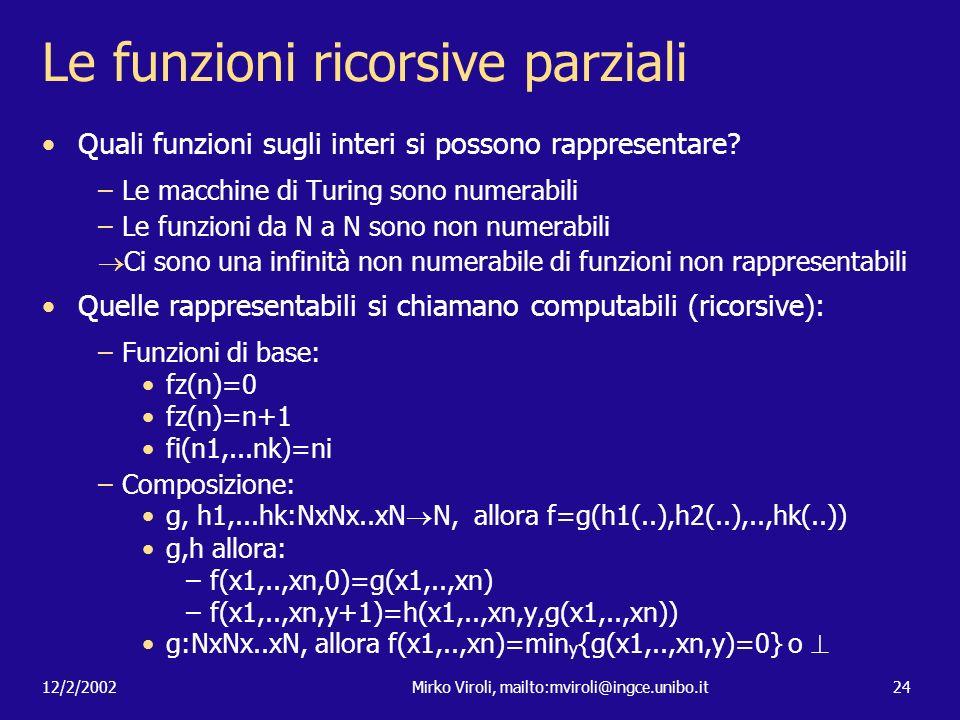 Le funzioni ricorsive parziali