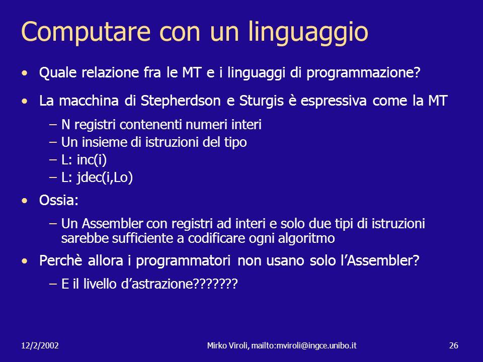 Computare con un linguaggio