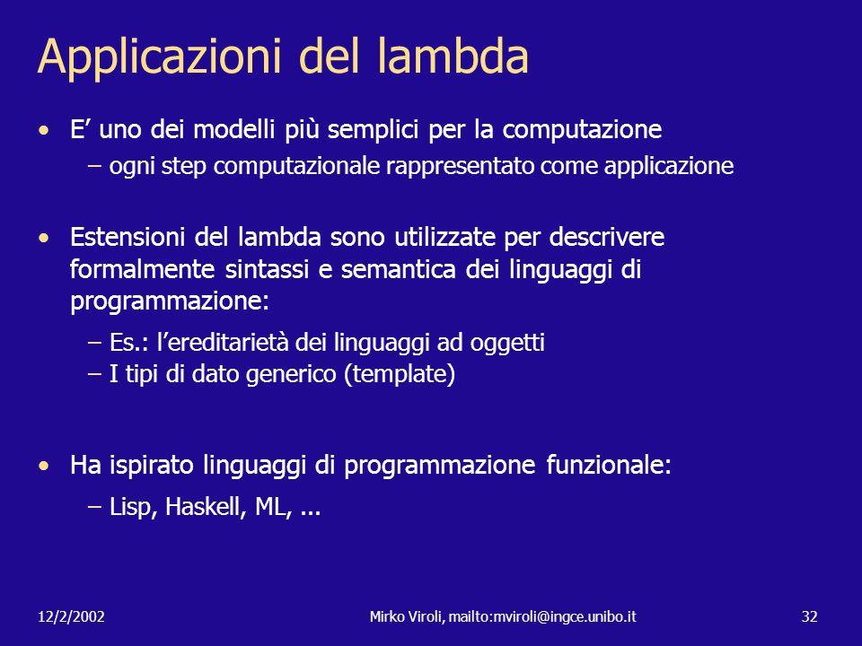 Applicazioni del lambda