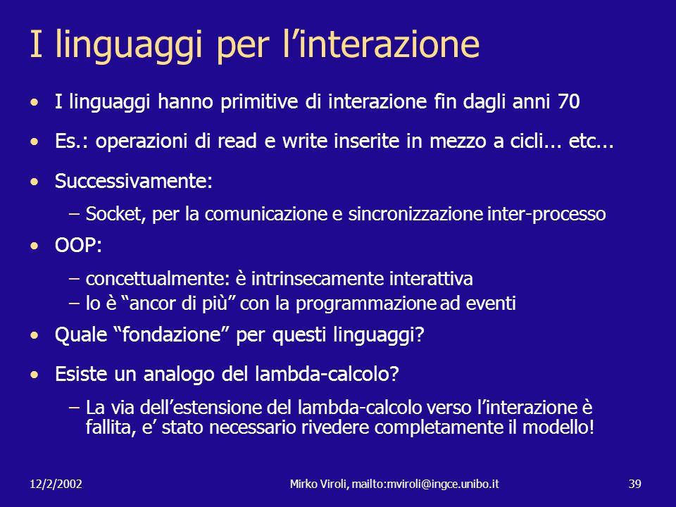 I linguaggi per l'interazione