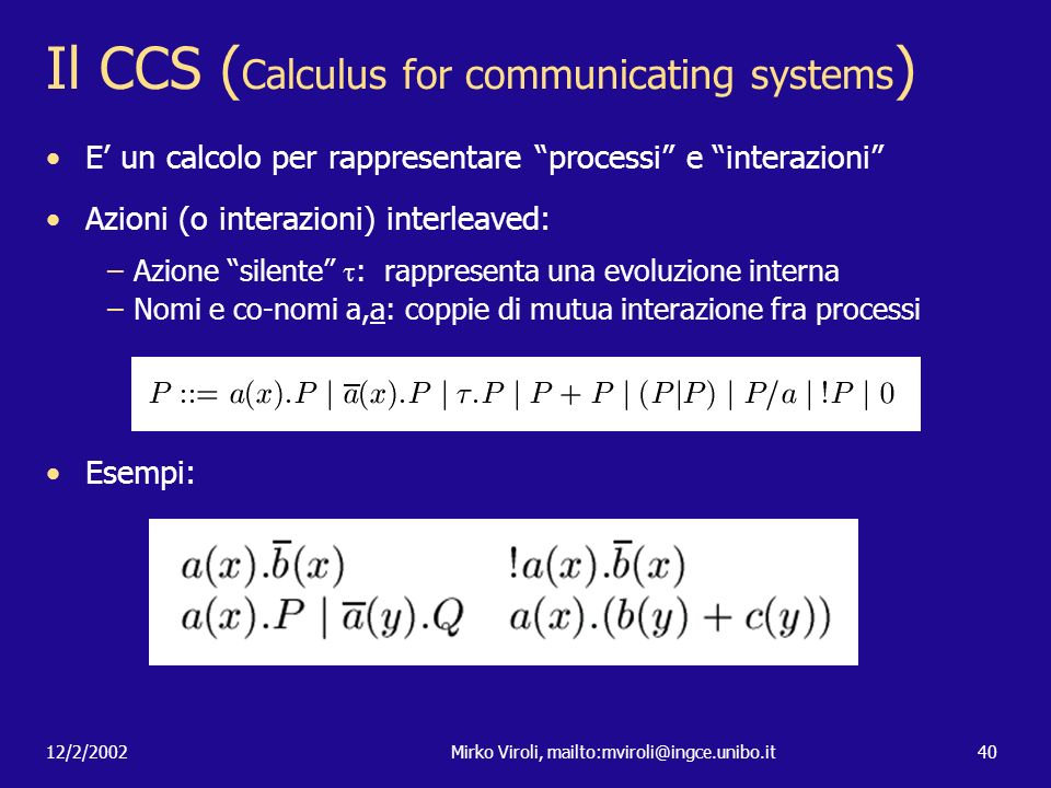 Il CCS (Calculus for communicating systems)