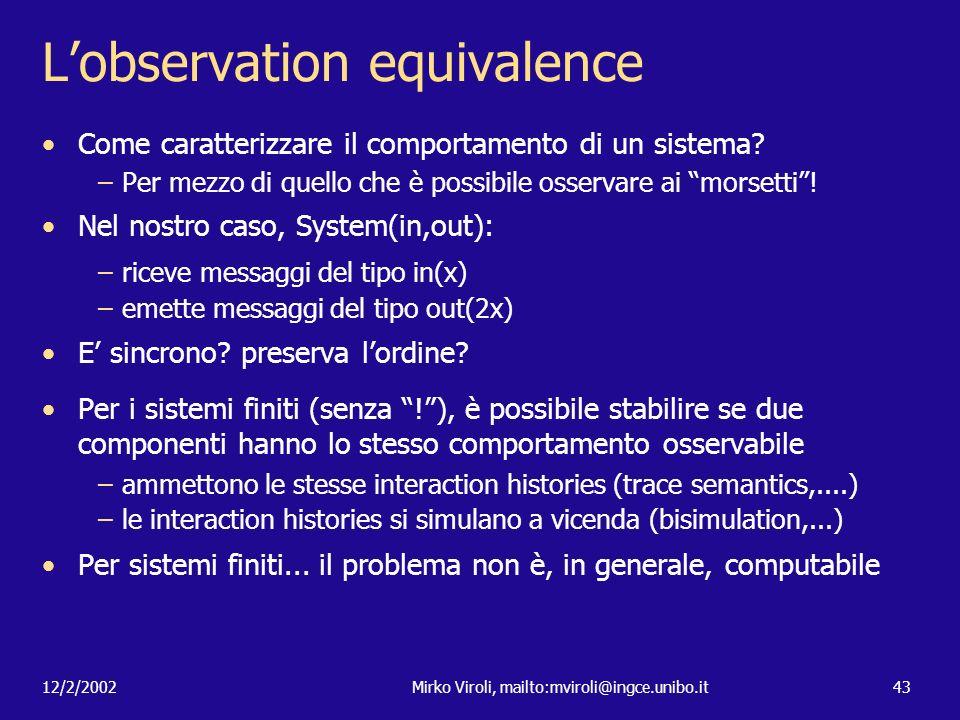L'observation equivalence