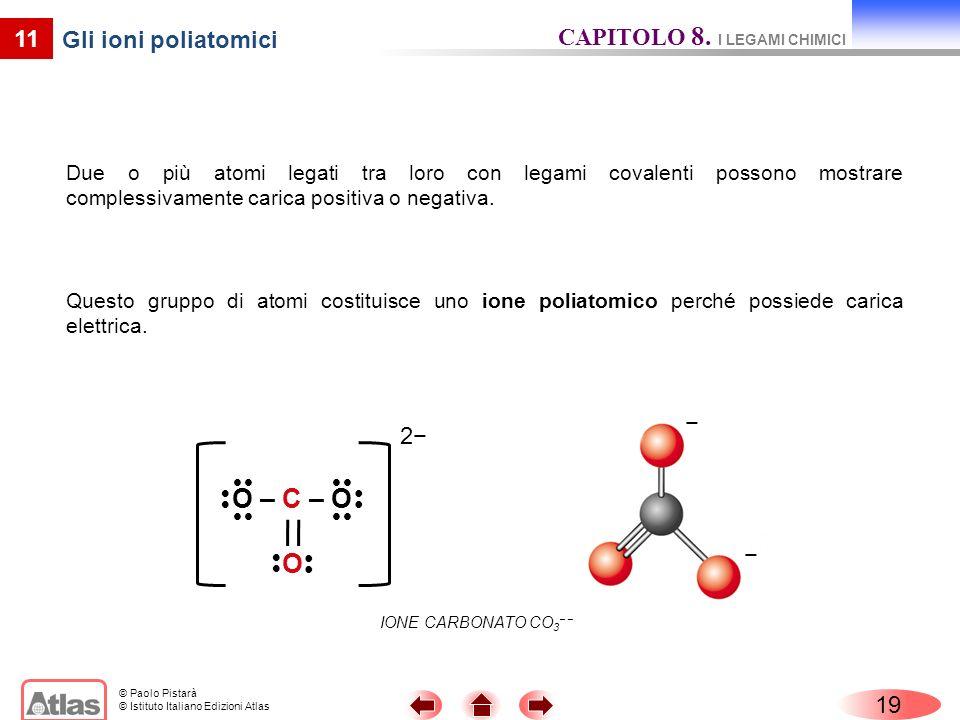 O – C – O O CAPITOLO 8. I LEGAMI CHIMICI 11 Gli ioni poliatomici − 2−