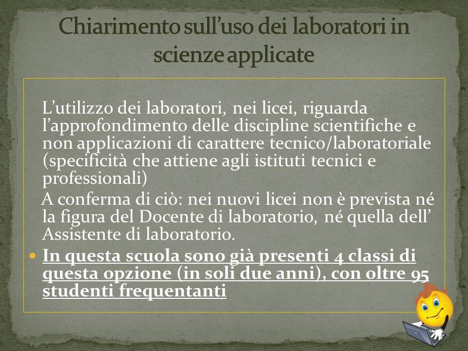 Chiarimento sull'uso dei laboratori in scienze applicate