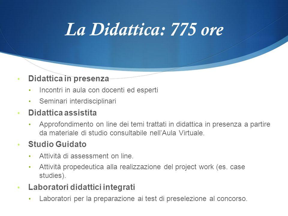 La Didattica: 775 ore Didattica in presenza Didattica assistita