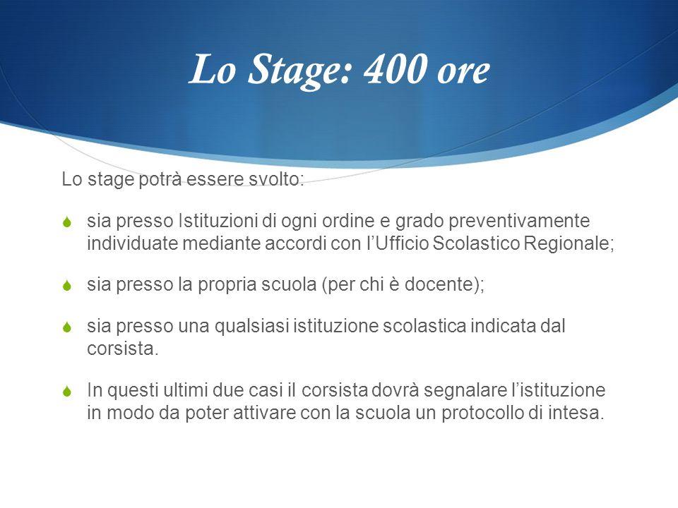 Lo Stage: 400 ore Lo stage potrà essere svolto: