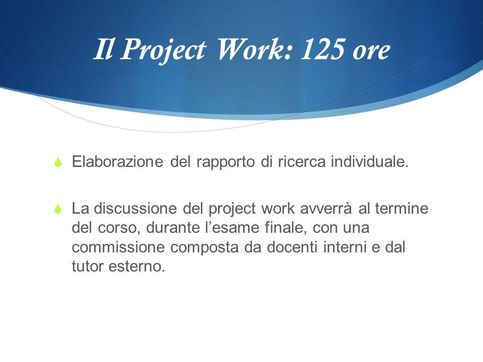 Il Project Work: 125 ore Elaborazione del rapporto di ricerca individuale.