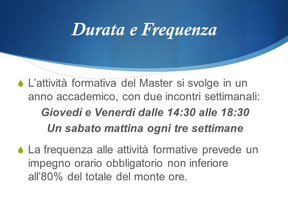 Durata e FrequenzaL'attività formativa del Master si svolge in un anno accademico, con due incontri settimanali: