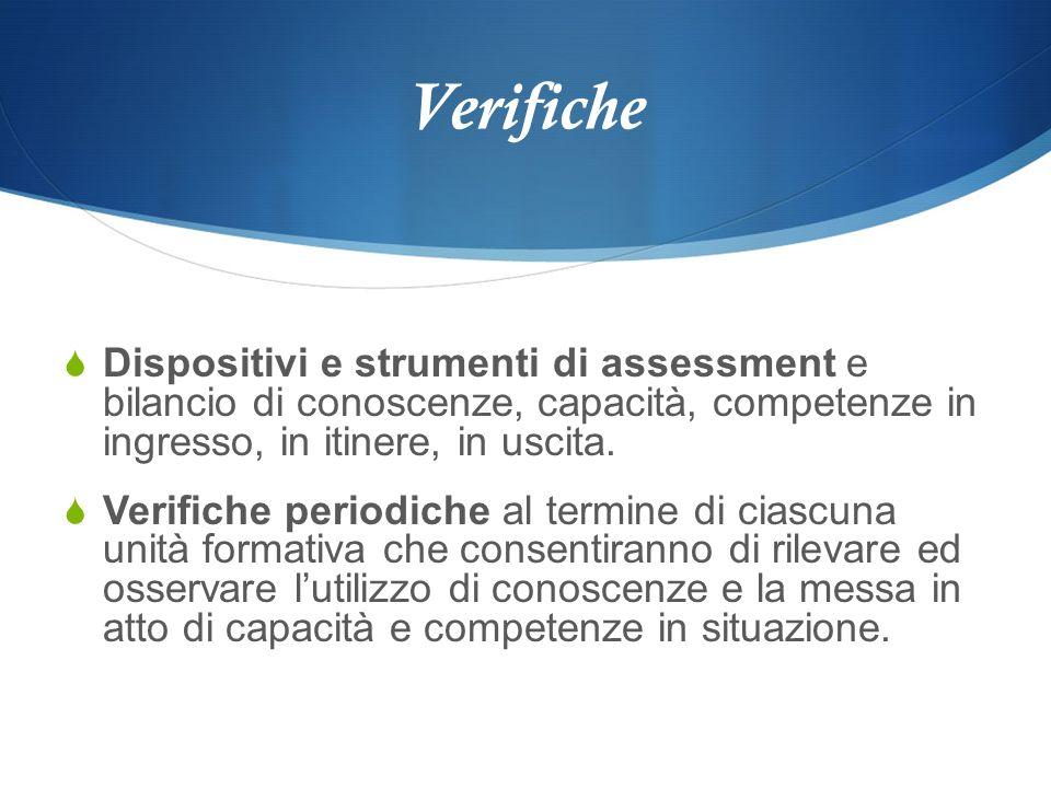 Verifiche Dispositivi e strumenti di assessment e bilancio di conoscenze, capacità, competenze in ingresso, in itinere, in uscita.